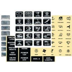 25 Etiquetas adesivas pretas da etiqueta 14 x 12mm para interruptores marinhos